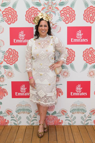 Kate Ceberano wearing Nevenka in the Emirates marquee.
