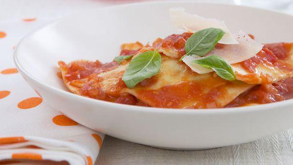 Spinach and ricotta ravioli