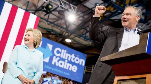 Tim Kaine (right) with Hillary Clinton. (AAP)