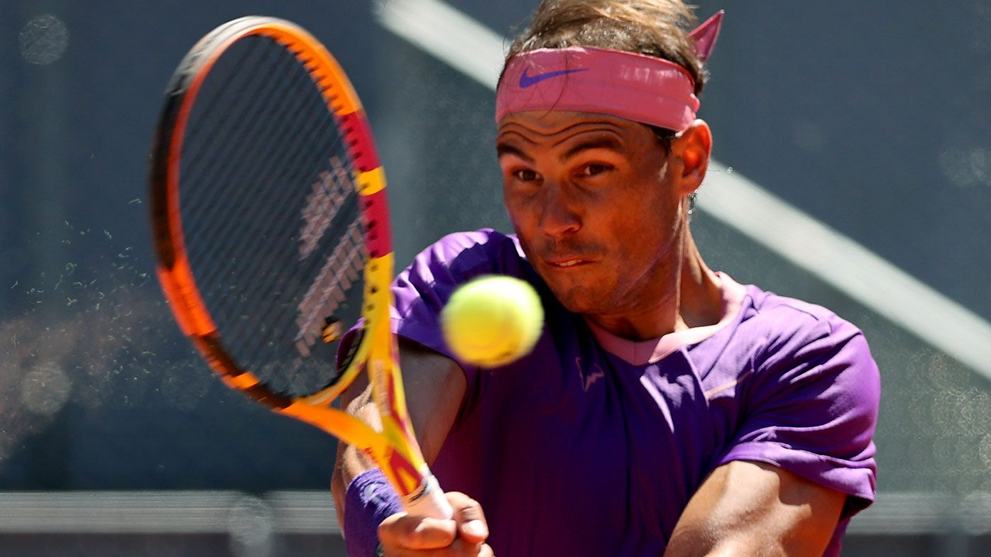 Rafael Nadal during his win over Alexei Popyrin in Madrid.