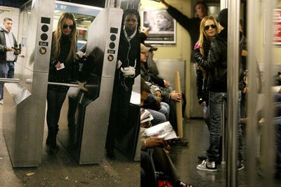 Looks like that credit crunch did something to Lindsay! <br/><br/>Ditching the private driver, the actress and her ex-girlfriend Samantha Ronson were spotted catching the subway to Soho. <br/>