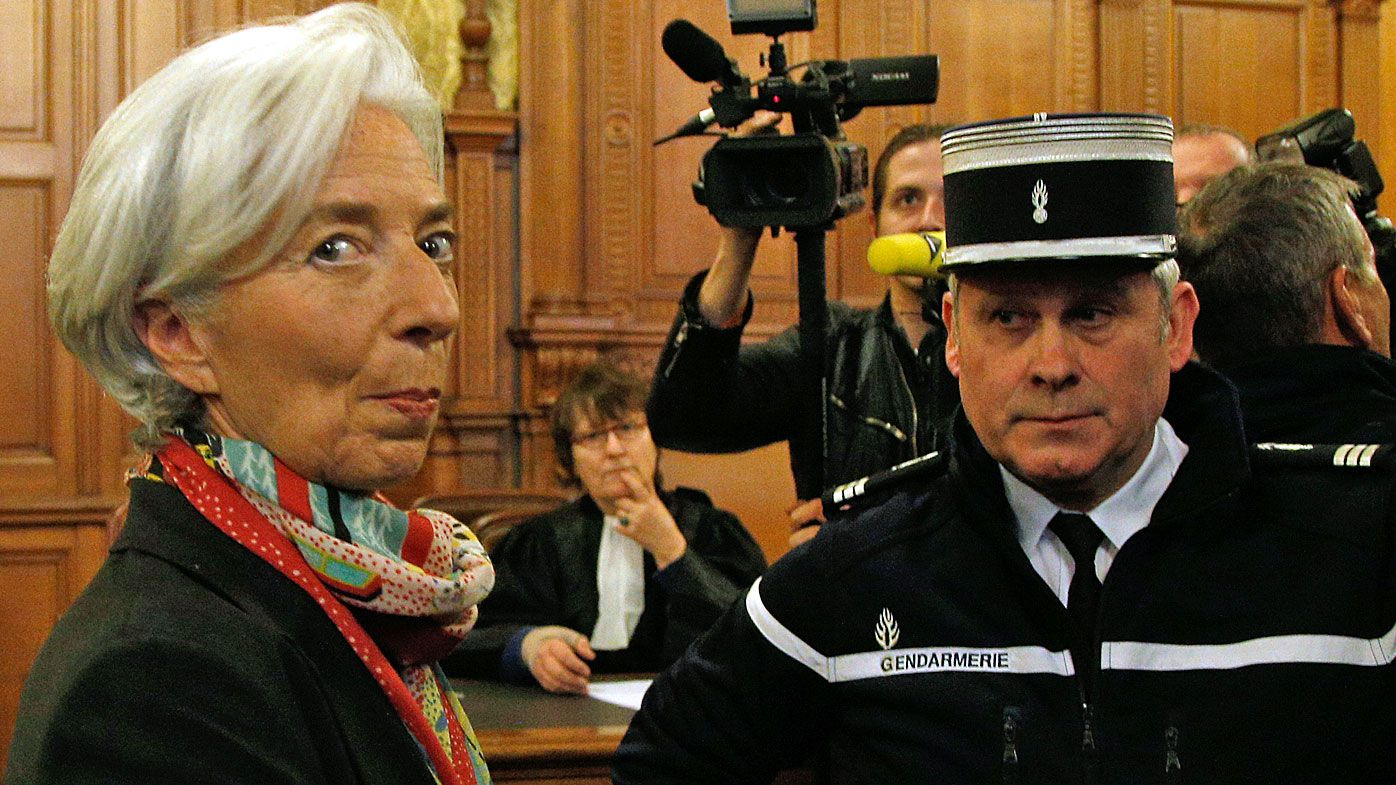 nternational Monetary Fund chief Christine Lagarde, right, arrives at the special Paris court, France. (AAP)