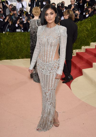 Kylie Jenner in Balmainat the Manus x Machina: Fashion In An Age Of Technology Costume Institute Gala at Metropolitan Museum of Art in New York, May, 2016
