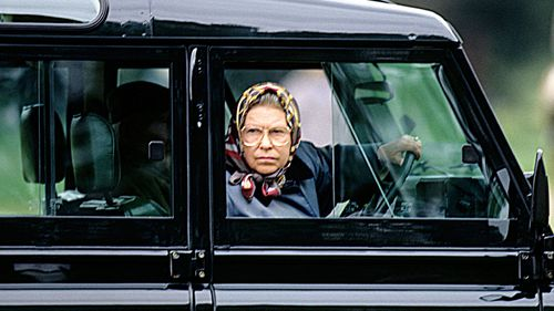 Queen Elizabeth goes for a  drive in Windsor