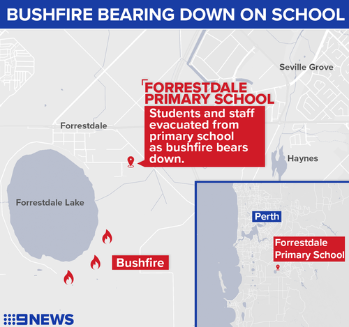 The primary school sits within an area that has been issued an emergency bushfire warning.