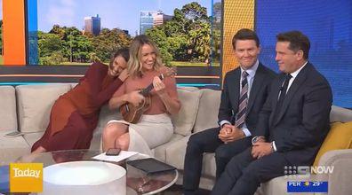 Karl Stefanovic and Alex Cullen react to Leila McKinnon and Brooke Boney's impromptu ukulele duet.