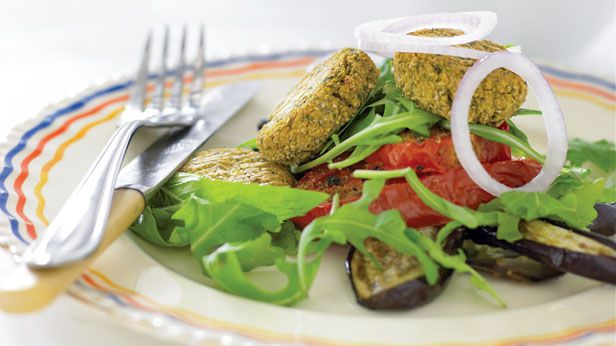 Roast vegetable and falafel salad