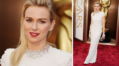 Australian Oscar nominee Naomi Watts goes for a striking red lip.
