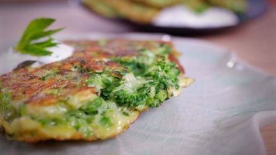 Broccolini, pea and soft herb fritters are a gorgeous and easy dinner