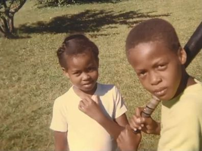Michelle Obama as a child, with her brother Craig.
