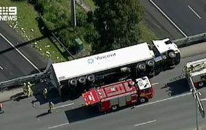 Truck rollover over major Melbourne freeway