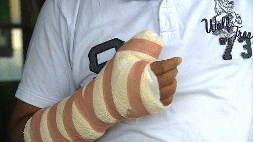 Nilesh Patel was slashed with a sword during the robbery. (9NEWS)