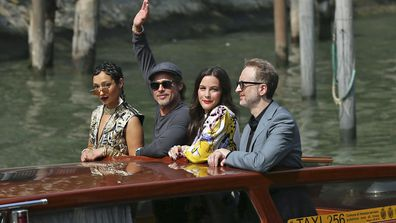 Actors Ruth Negga, from left, Brad Pitt, Liv Tyler and director James Gray pose for photographers upon arrival for the photo call of the film 'Ad Astra' at the 76th edition of the Venice Film Festival in Venice, Italy, Thursday, Aug. 29, 2019