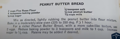 1932 peanut butter bread recipe from Depression era cookbook