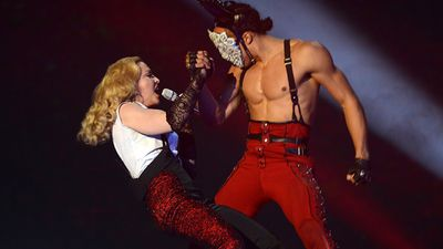 Madonna performed her new song 'Living for Love'. (Getty)