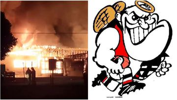 The struggling Nangwarry Saints football club has been destroyed by a suspicious fire overnight.