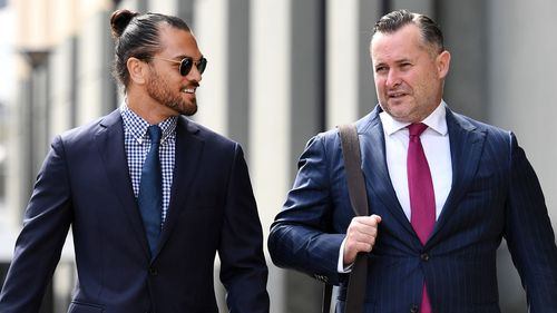 Adam Magill (right) represented Karmichael Hunt when the rugby star was charged with drug offences.