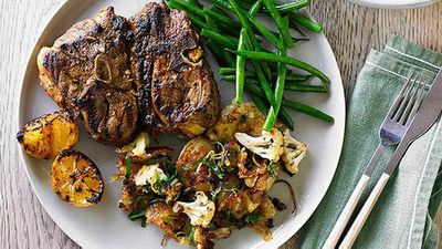 "Recipe:&nbsp;<a href=""http://kitchen.nine.com.au/2016/05/05/13/28/hayden-quinns-moroccan-lamb-chops-with-roasted-potatoes-and-cauliflower"" target=""_top"">Hayden Quinn's Moroccan lamb chops with roasted potatoes and cauliflower</a>"
