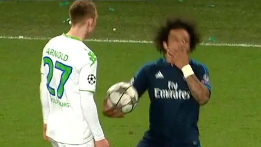 Real Madrid defender fools referee in to cautioning rival