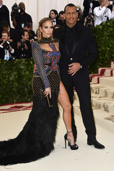 Jennifer Lopez in Balmain and Alex Rodriguez at the 2018 Met Gala<em> Heavenly Bodies: Fashion and the Catholic Imagination</em>