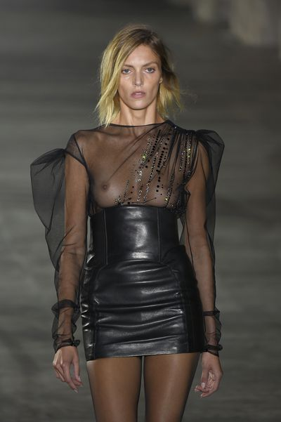 WHY: Making his debut for YSL, Vaccarello stuck to his signature look of empowered women in 80s looks with short skirts and big shoulders. He even brought along his long-standing muse, model Anja Rubik.