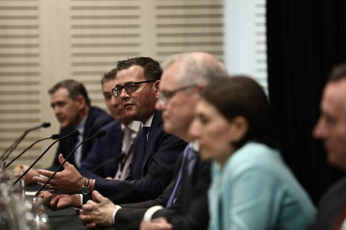 Premier of Victoria Daniel Andrews, Chief Medical Officer Professor Brendan Murphy and Prime Minister Scott Morrison address the media with Premiers and Chief Ministers following a Council of Australian Governments (COAG) meeting back on March 13. Photo: Dominic Lorrimer