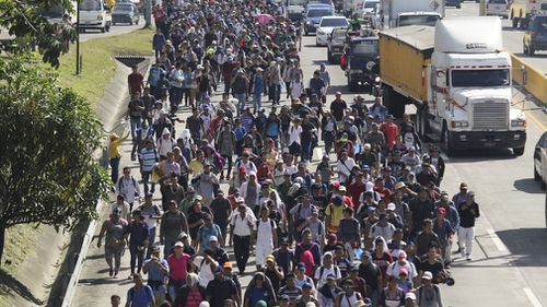 A second caravan formed by about 600 Salvadoran migrants, including children and women, leaves San Vicente, El Salvador bound for the US.