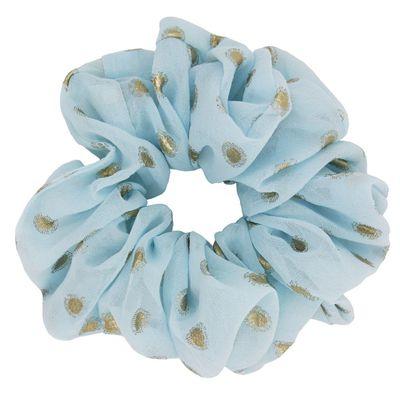 "<a href=""https://www.moosegirl.com.au/Gold-stamping-dots-chiffon-scrunchies-p91298541"" target=""_blank"" draggable=""false"">Moose Girl&nbsp;Gold Stamping Dots Chiffon Scrunchie in Light Blue, $10.95</a>"