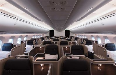 Qantas Dreamliner Business Class cabin