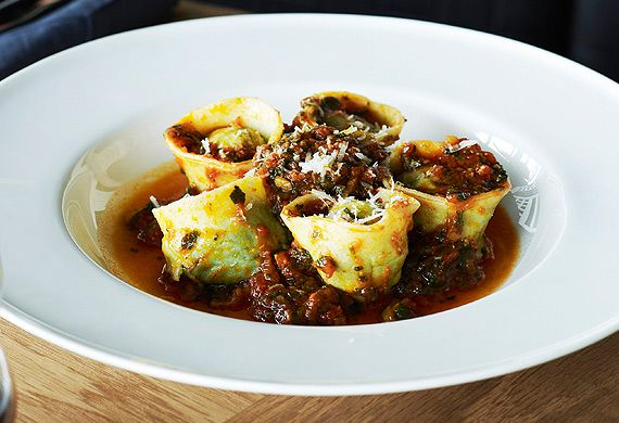 Stefano Manfredi's agnolotti filled with wild greens and tomato salsa