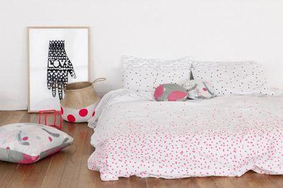 "Bed linen fluoro pink, $35, <a href="" https://www.theblockshop.com.au/store/single/bed-linen-sprinkle-sprinkle-fluro-pink"" target=""_blank"">The Block shop</a>"