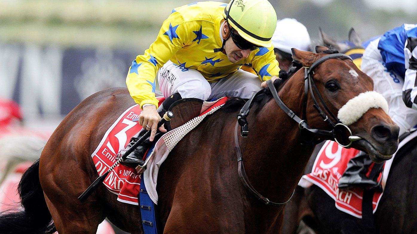 French horse Dunaden ridden by Christophe Lemaire gallops to victory in the 2011 Melbourne Cup