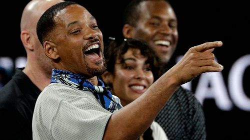 A-list actor Will Smith caught Kyrgios's attention in the stands.
