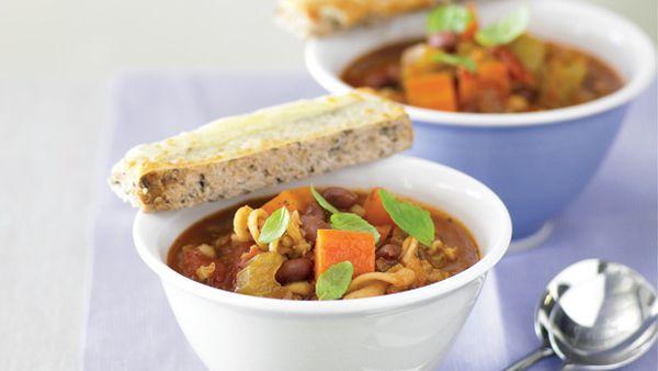 Barley bean and pasta pot