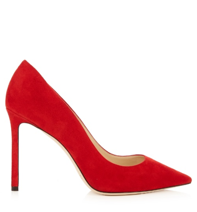 "<a href=""http://www.matchesfashion.com/au/products/Jimmy-Choo-Romy-100mm-suede-pumps%09-1072510"" target=""_blank"">Jimmy Choo 100mm Suede Pumps, $582.</a>"
