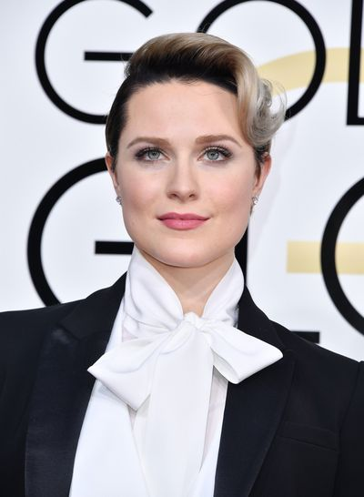 <p>Evan Rachael Wood's suit was fierce but her makeup was ladylike, sweet and soft and that velvet-matte skin was to die for.</p> <p>Image: Getty.</p>