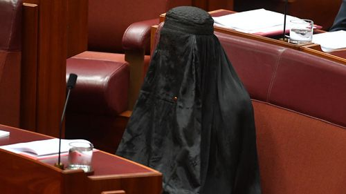 Pauline Hanson wearing  a burqa in the Senate. (AAP)