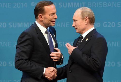 Tony Abbott and Vladimir Putin at G20 in 2014.