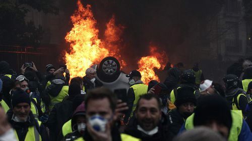 The unrest comes as part of the 'Yellow Vest' movement that has brought people together across France to complain about the country's economic inequalities.