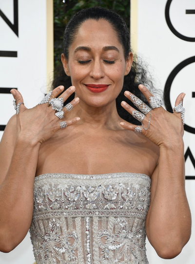 <p>Tracey Ellis Ross let her fingers do the talking (yes, all of them) with Indian-inspired finger bling that was all things perfect and pretty.</p> <p>Image: Getty.</p>