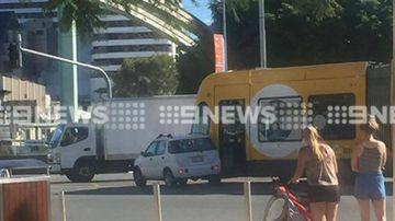 A car and tram have collided in Broadbeach. (9NEWS)