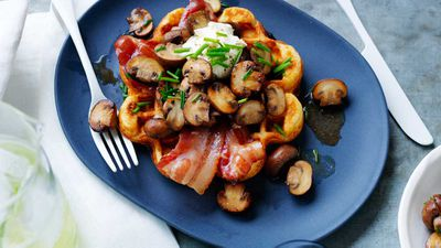 "Recipe: <a href=""http://kitchen.nine.com.au/2017/04/18/16/34/waffles-with-sauteed-mushrooms-and-maple-bacon"" target=""_top"">Waffles with saut&eacute;ed mushrooms and maple bacon</a>"