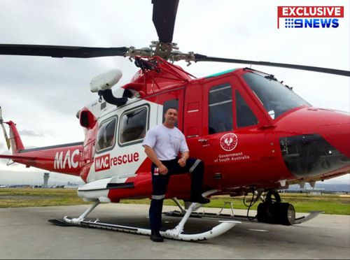 Wahlberg posing with a South Australian rescue chopper. Picture: 9NEWS