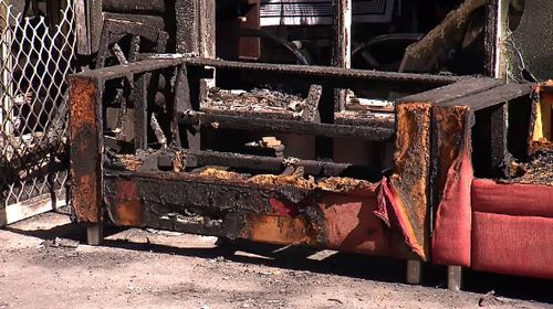 The fire started in an ash tray at the back of a property. Picture: 9NEWS