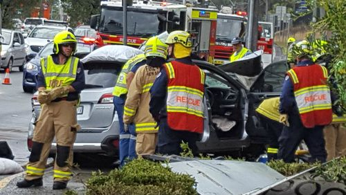 A woman was killed and a man critically injured after a crash at Erina on the New South Wales Central Coast. (Image: Jacinta Lee, NBN)