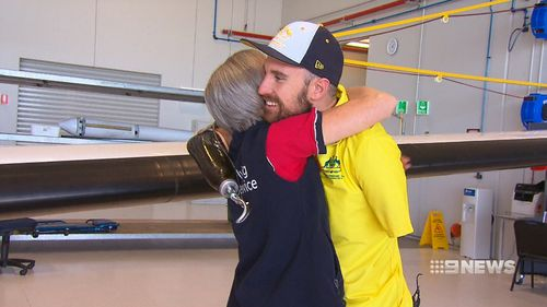 Sean Pollard has been reunited with the nurse who saved his life. (9NEWS)