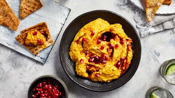 Pumpkin hummus with pomegranate molasses