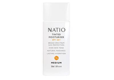 "<a href=""https://www.natio.com.au/products/tinted-moisturiser-spf-50"" target=""_blank"">Tinted Moisturiser SPF 50+, $18.95, Natio</a>"