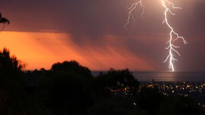 The lightning storm swept across Adelaide, leaving some without power. (Alastair Sellars)