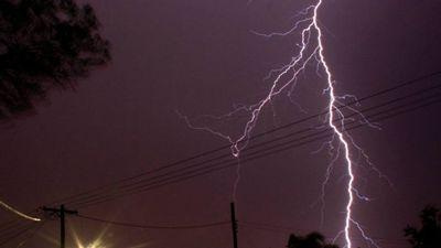 Lightning strikes at Windale, Lake Macquarie. (Kellie-Anne Williams)
